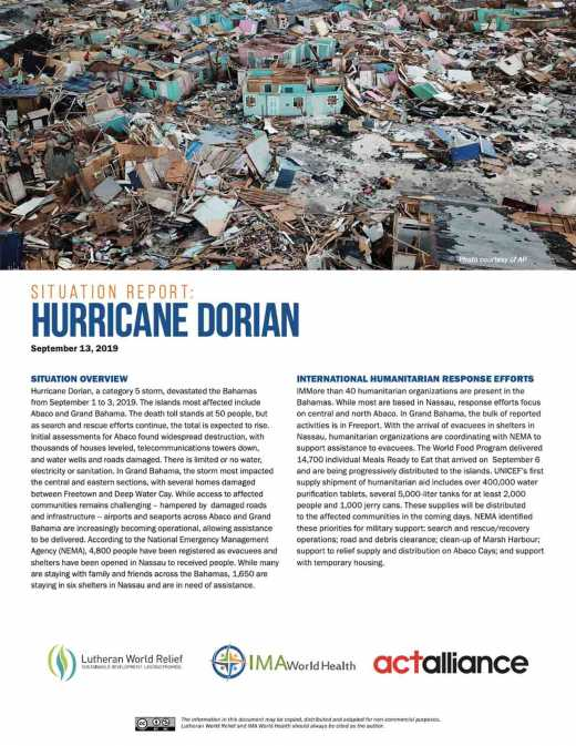 Hurricane Dorian Emergency Situation Report, No. 1