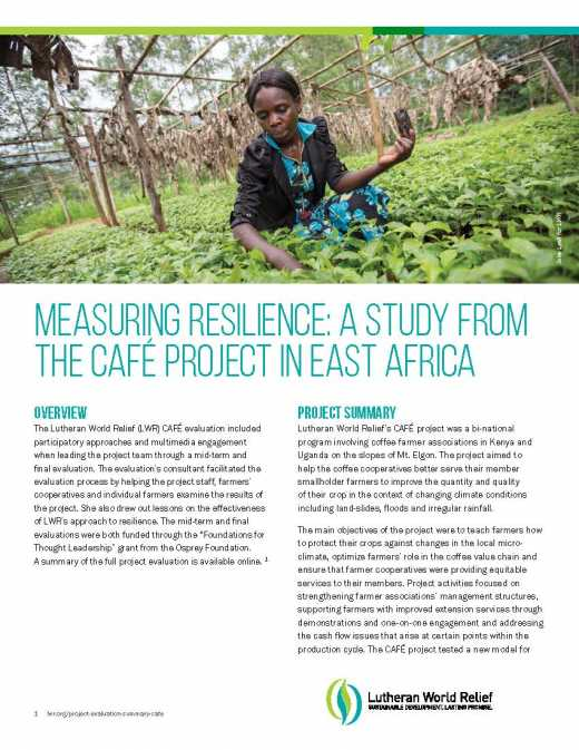 Measuring Resilience: A Study from the CAFÉ Project in East Africa Summary