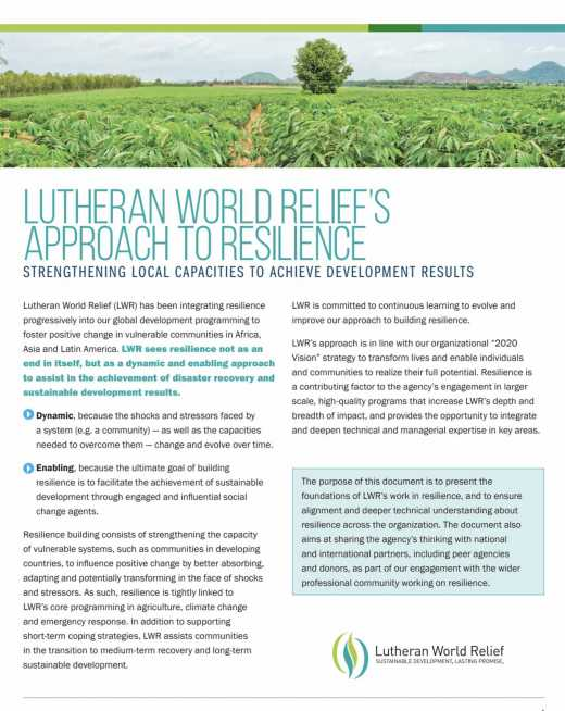 Lutheran World Relief's Approach to Resilience