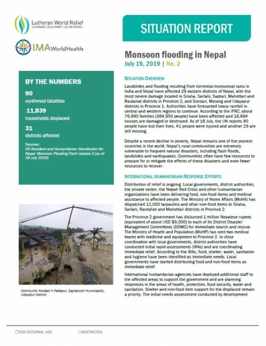 Monsoon flooding in Nepal Sitrep #2