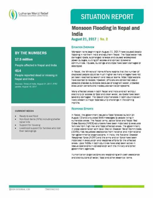 Monsoon Flooding in Nepal and India 2