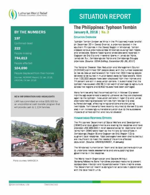The Philippines: Typhoon Tembin 3