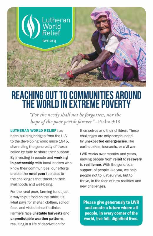 Bulletin Insert: Reaching Out to Others Around the World Living in Extreme Poverty